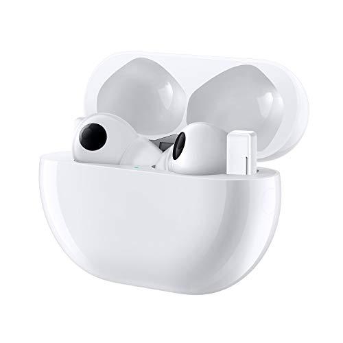 HUAWEI FreeBuds Pro, True Wireless Bluetooth Kopfhörer mit intelligenter Geräuschunterdrückung (Dynamic Noise Cancellation), 3-Mikrofon-System, Kabellose Schnellladung, Ceramic White*