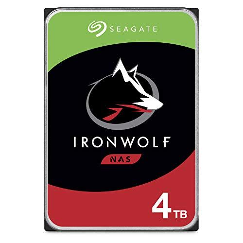 Seagate IronWolf, NAS interne Festplatte 4 TB HDD, 3.5 Zoll, 5900 U/Min, CMR, 64 MB Cache, SATA 6 GB/s, silber, inkl. 3 Jahre Rescue Service, ST4000VN008