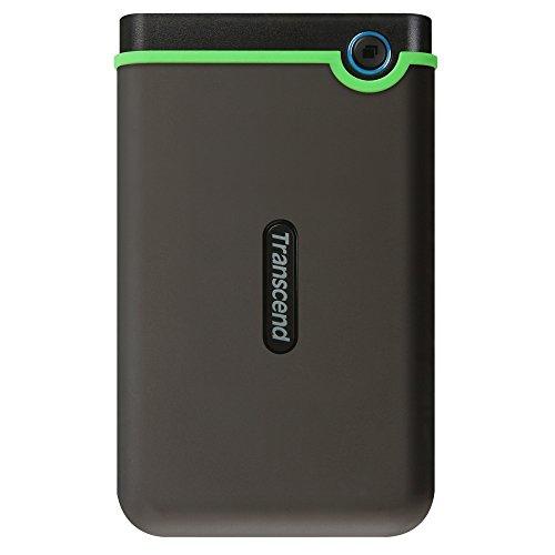 Transcend TS2TSJ25M3S StoreJet 2TB stabile, externe USB3.1 Festplatte (HDD) kompakt, stoßunempfindlich und leicht in grau/grün mit Backup-Funktion (Datensicherung per Knopfdruck), Plug und Play