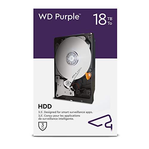 WD Purple 18TB Überwachung 3,5 Zoll Interne Festplatte – AllFrame AI – 360TB/Jahr, 512 MB Cache, 7.200 RPM Class