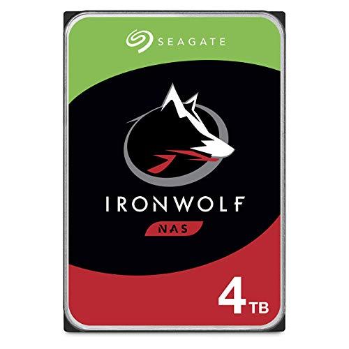 Seagate IronWolf, NAS interne Festplatte 4 TB HDD, 3.5 Zoll, 5900 U/Min, CMR, 64 MB Cache, SATA 6 GB/s, silber, inkl. 3 Jahre Rescue Service, Modellnr.: ST4000VNZ08