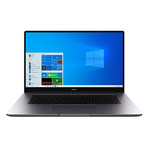 HUAWEI MateBook D 15 Zoll Laptop, FullView 1080p FHD Ultrabook, Windows 10 Home, Intel Core i3-10110U, 8GB RAM, 256GB NVMe PCIe SSD, Fingerabdrucksensor, versteckbare Kamera, QWERTZ-Layout, Space Gray