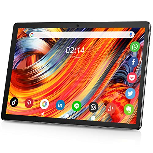 Tablet 10.1 Zoll Android 9.0 3G Telefon Tablets mit 2GB RAM 32GB ROM dual SIM Karte Slot und Zwei Kamera 5MP WiFi Bluetooth GPS Quad Core HD Touchscreen 3G Telefonanrufen 10' Tablet schwarz