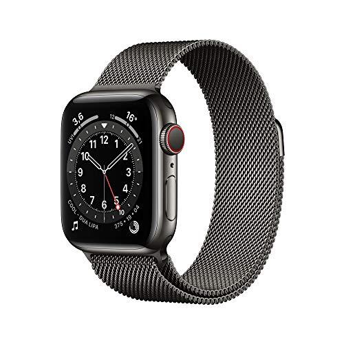 AppleWatch Series6 (GPS+ Cellular, 40mm) Edelstahlgehäuse Graphit, Milanaise Armband Graphit*