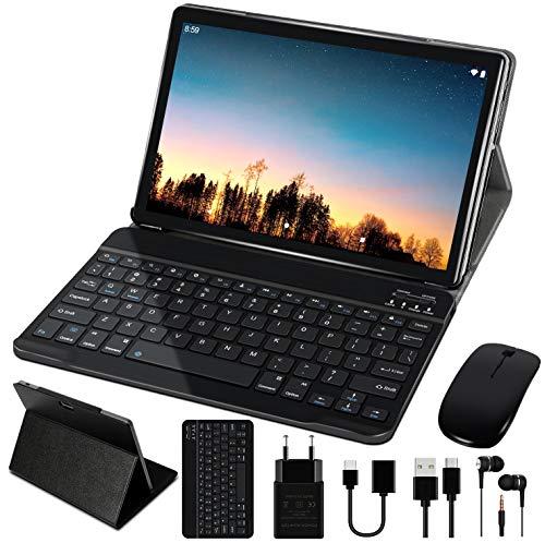 10'' Tablet 4 GB RAM 64 GB ROM WiFi + Dual-SIM LTE Android 10 Pro GOODTEL Tablette Dual-Kamera 5 + 8 MP   WiFi   IPS   Bluetooth   MicroSD 4-128 GB   FM-Radio   mit Bluetooth Tastatur und Maus - Grau