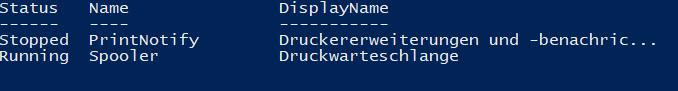 Windows Dienst Name für neu starten herausfinden