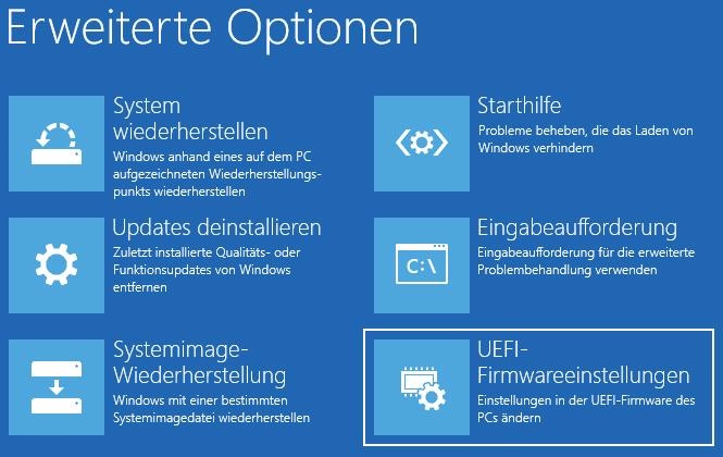 Windows 10 - Erweiterter Neustart - Kennwort vergessen