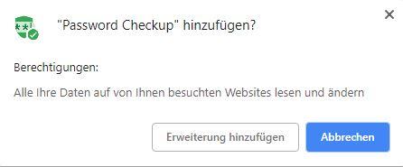 Abfrage Chrome Erweiterung installieren