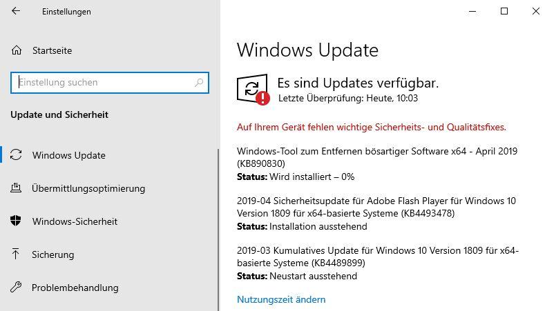 Updatestatus von Windows 10