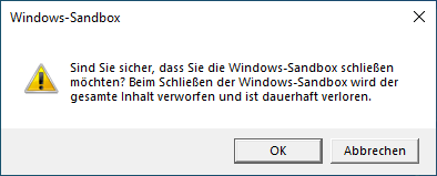 Windows Sandbox beenden