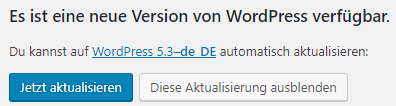 WordPress Update verfügbar