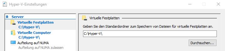 Hyper-V Pfade einstellen
