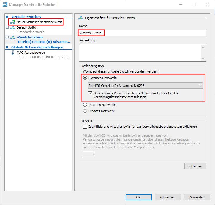 Hyper-V Netzwerkeinstellungen unter Windows 10