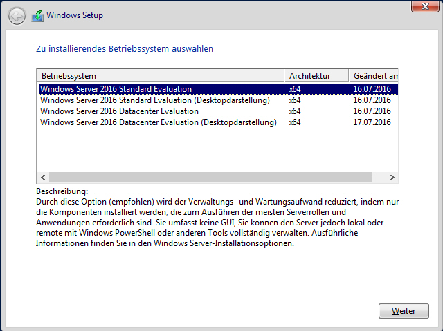 Windows Server Versionen