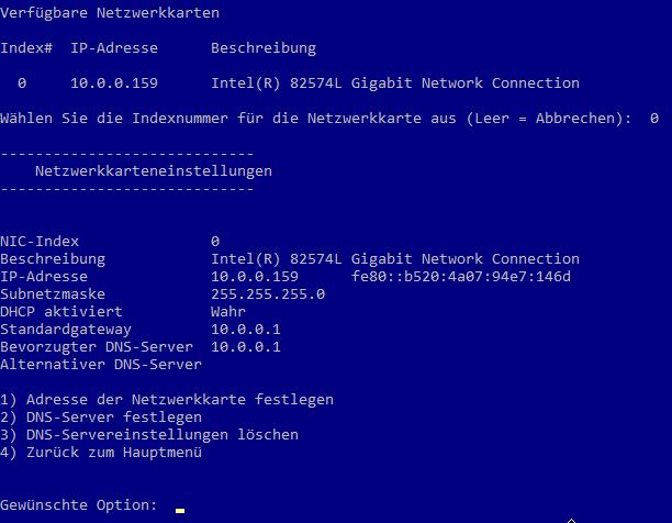 Windows Server Core - Netzwerkeinstellungen