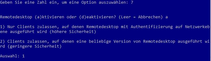 Windows Server Core - Remotedesktop aktivieren
