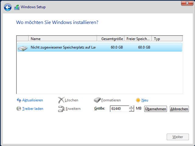 Windows Server Installationsort