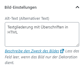 Einstellungen für den Alt-Text in WordPress