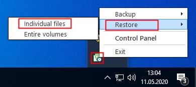 Veeam Agent Symbol im Infobereich von Windows 10
