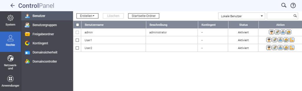 Benutzerverwaltung auf NAS-System