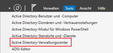 Active-Directory-Verwaltungscenter öffnen