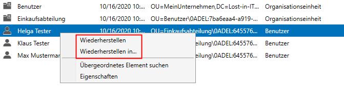 Wiederherstellung von Active Directory Objekten