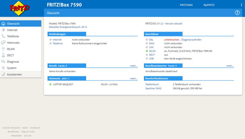 FritzBox 7590 Einstellungen im Webinterface