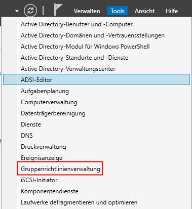Gruppenrichtlinien Verwaltung im Servermanager