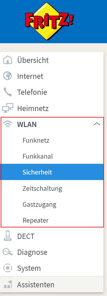 WLAN Einstellungen auf FritzBox