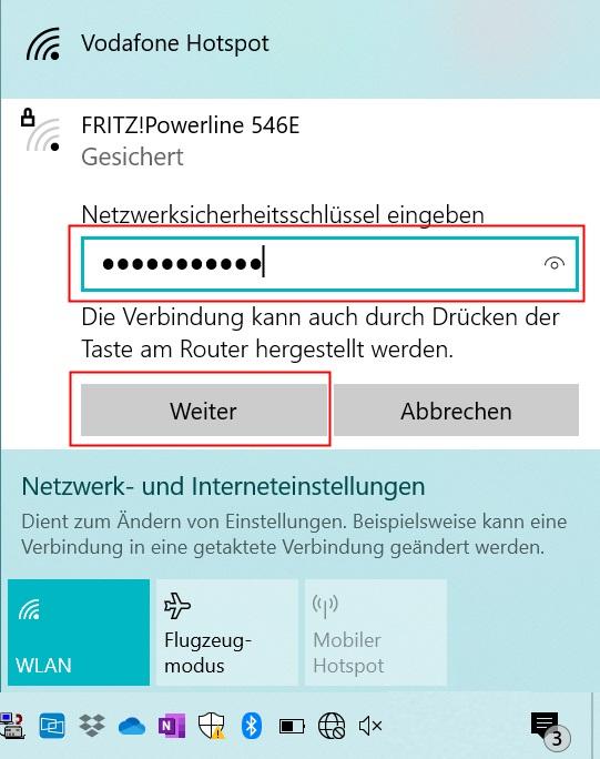 WLAN Passwort eingeben unter Windows 10