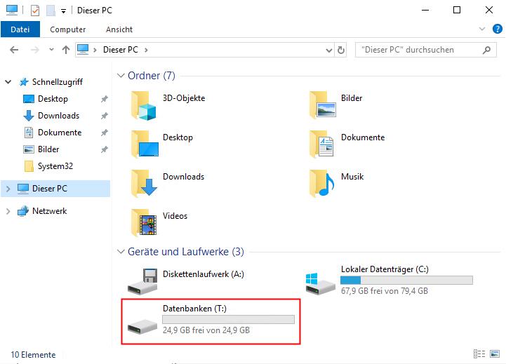 Neue VHDX Festplatte im Windows Explorer