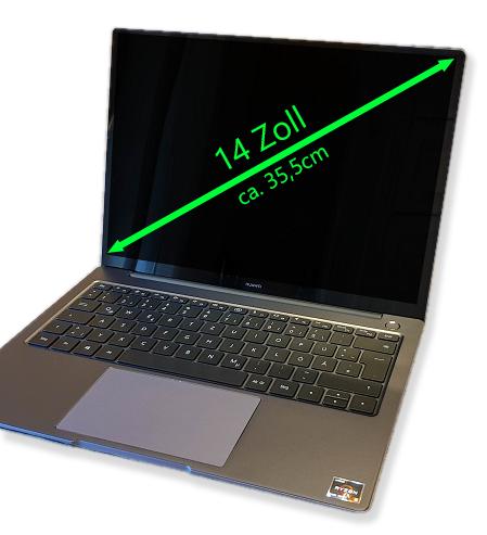 Notebook mit 14 Zoll Bildschirmdiagonal - Schaubild