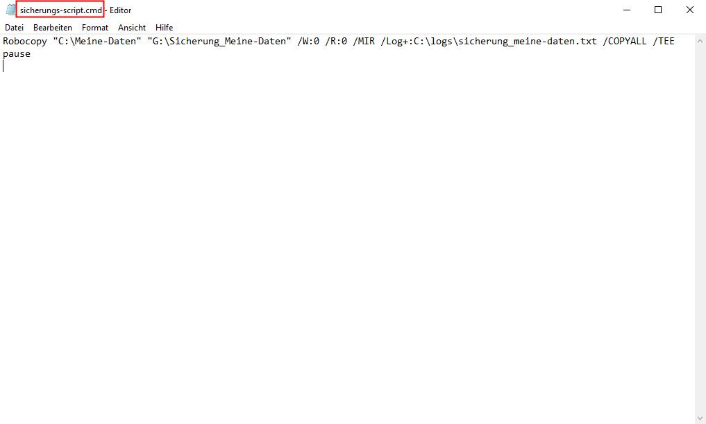 Robocopy Script im Texteditor