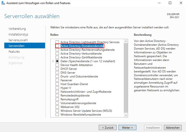 Active Directory Domänendienste auswählen