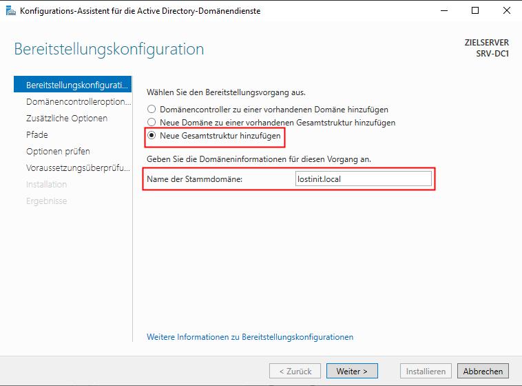 Windows Server Domäne erstellen - Name vergeben