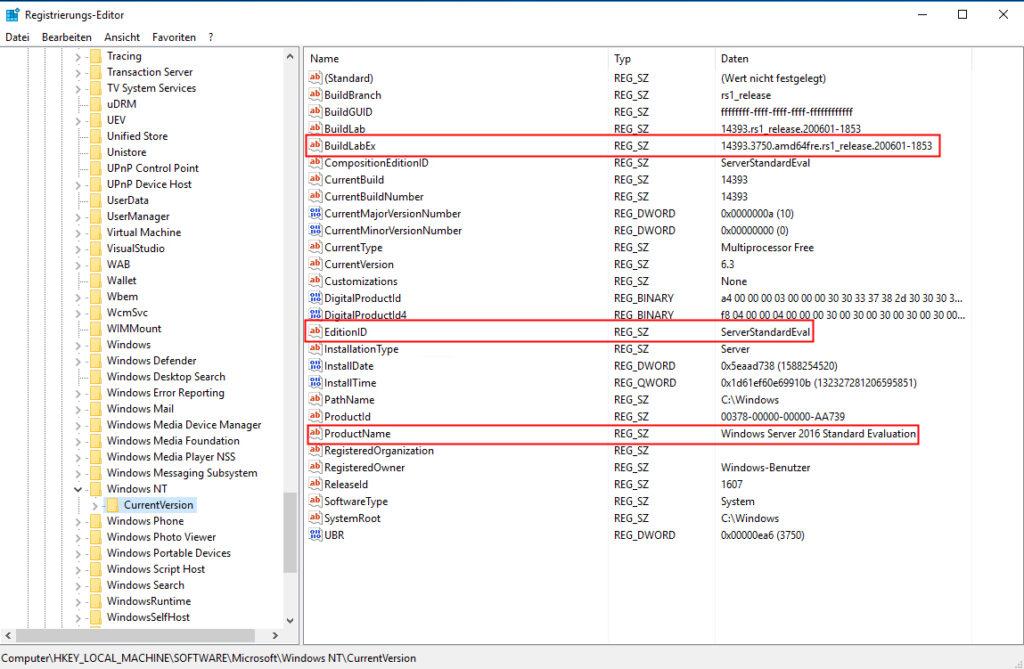 Betriebsystemversion herausfinden Registry