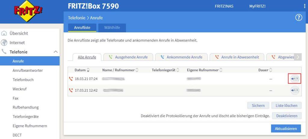 Anruferliste auf FritzBox