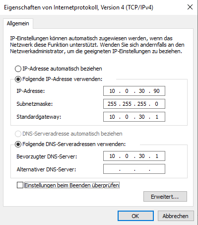 Server auf feste IP umstellen