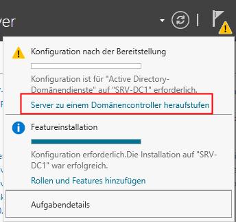 Server zu einem Domänencontroller heraufstufen im Server-Manager
