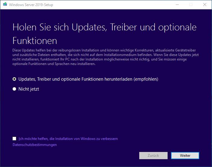 Windows Server Upgrade starten