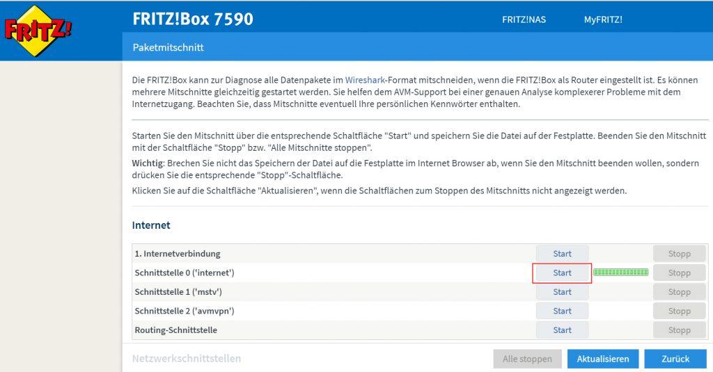 Netzwerkverkehr auf FritzBox mitschneiden