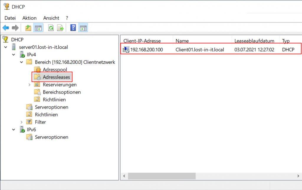 Adressleases im DHCP-Server