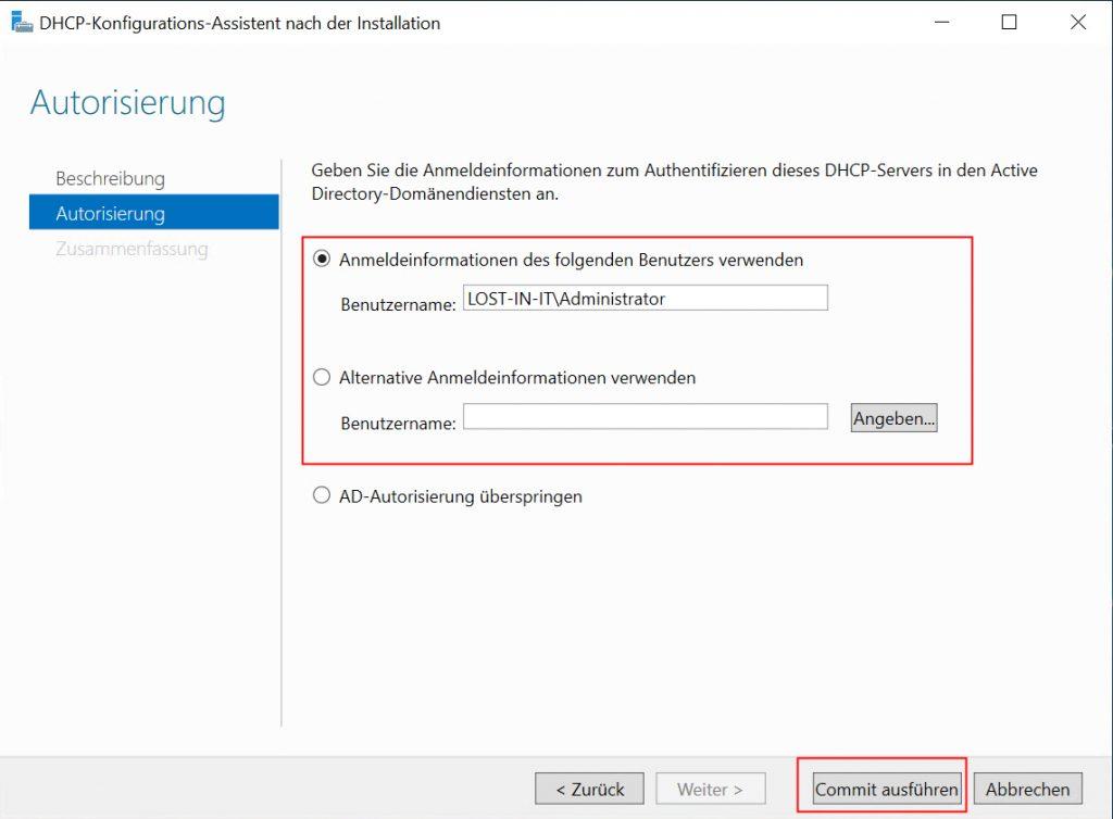 DHCP Server installieren - Anmeldedaten