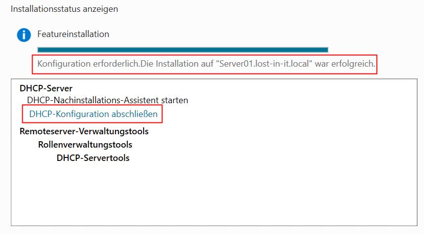DHCP-Konfiguration abschließen