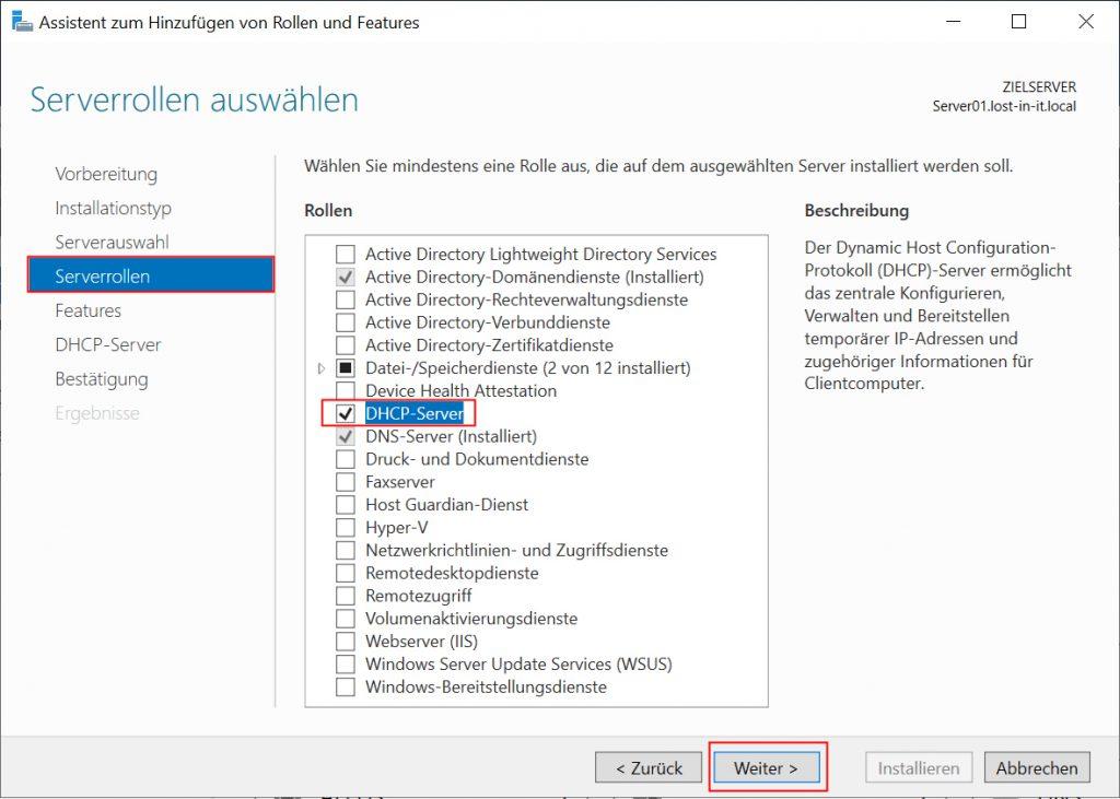 DHCP Rolle installieren über Server Manager