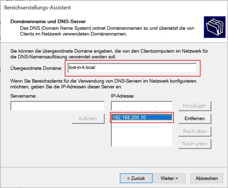 Domänenname und DNS-Server eingeben