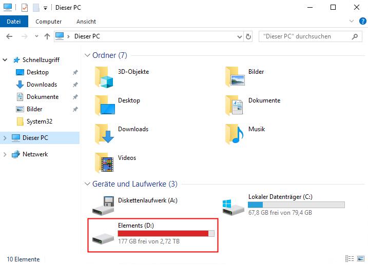 Hyper-V USB Stick wird im Explorer angezeigt.