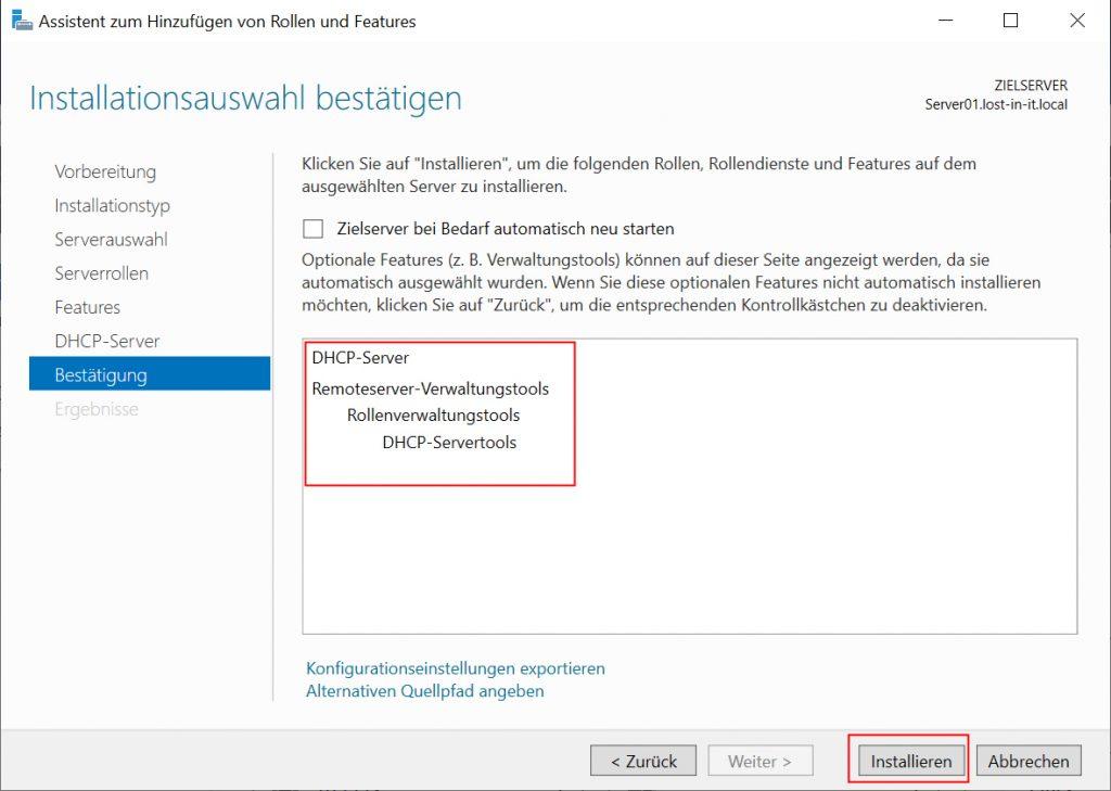 Installation DHCP-Server