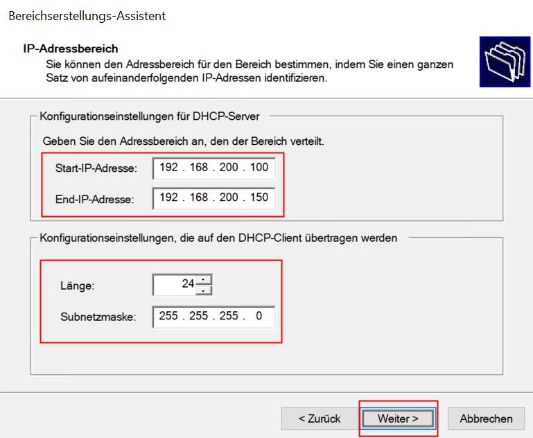 IP-Adressen für Bereich einstellen
