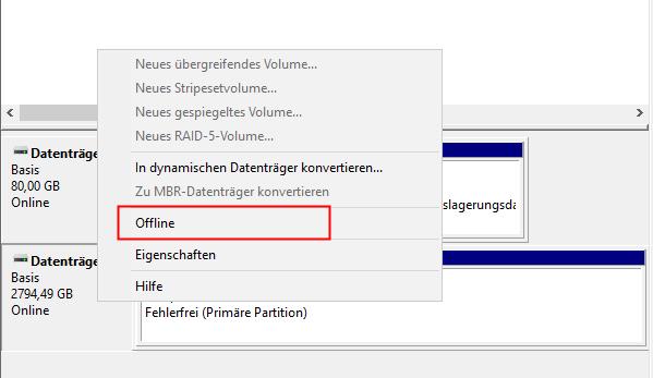 Laufwerk offline schalten auf dem Hyper-V Host